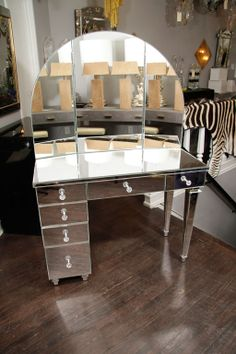 Art Deco Style Mirrored Dressing Table | From a unique collection of antique and modern vanities at http://www.1stdibs.com/furniture/tables/vanities/