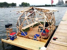 """Honestly, I think this is ridiculous! Previous post """"Pride of Buffalo, Michael Weekes, geodesic houseboat, affordable house boat. Boat Building, Green Building, Building Plans, Small Houseboats, Geodesic Dome Homes, Temporary Structures, Eco Architecture, Tiny House Cabin, Dome House"""