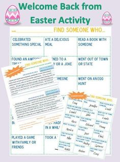 """NO PREP Welcome Back from Easter weekend activities! Lets students talk while completing a meaningful task after Easter. """"Find Someone Who"""" game, collaborative Venn diagram, and comparison/contrast writing activity included for students to compare & contrast their Easters. A NO stress way to return to school!"""