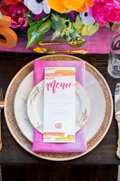 A wedding reception reimagined into a chic beer hall, with a quirky bright neon and hot pink color palette and watercolor details Wedding Reception Decorations Elegant, Outdoor Wedding Venues, Wedding Table, Wedding Receptions, Ryan Moore, Hot Pink Weddings, Quirky Wedding, Paper Paper, Wedding Place Cards