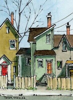 Watercolor Scenery, Pen And Watercolor, Watercolor Landscape, Town Drawing, House Drawing, Architecture Concept Drawings, Watercolor Architecture, Building Drawing, Building Art