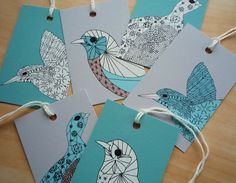 Bird Gift Tags, Illustrated Art Designs, Turquoise Cream Black, pack of 12. £5.00, via Etsy.