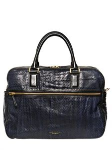 PAUL SMITH - PERFORATED WASHED LEATHER LAPTOP BAG - LUISAVIAROMA