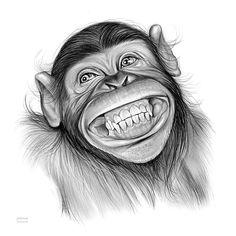 Chimpanzee By Greg Joens – Realistic Animals Realistic Animal Drawings, Pencil Drawings Of Animals, Animal Sketches, Cartoon Drawings, Monkey Drawing, Monkey Art, Art Drawings Sketches Simple, Cute Drawings, Drawing Ideas