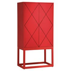 Naturally, since I love RED - I love this!  Featuring a hand-buffed lacquer finish in red and latticed door fronts, this chic cabinet adds a pop of color to your guest room or master suite.