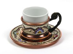 Decorated Turkish Coffee Cup with Saucer - 3 oz