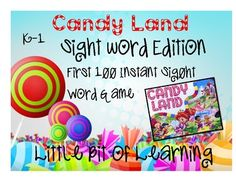 NEW UPDATED DOCUMENT INCLUDING SPECIAL CHARACTERS Add this material to any CANDYLAND game to increase child learning and fast recall of sight words. This product includes 100 of the most frequently used words. Great for language arts small group or