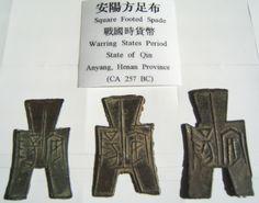 Square Footed Spade coins, Anyang, Henan Province, Warring States period, circa 475-221 BC.