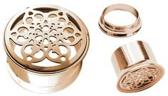 Bild von Ohr Piercing Flesh Tunnel 316l Stahl Rose Gold, Blume in 8-16 mm #ohrpiercing #fleshtunnel #blume #rosegold