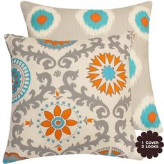 "Pinwheel Double-sided 20"" Accent Pillow Cover - Floral Pinwheel and Polka Dot - Orange, Turquoise, Blue, Gray, Cream - 1 Pillow, 2 Looks Chloe & Olive,http://www.amazon.com/dp/B00A19WAK8/ref=cm_sw_r_pi_dp_CMPytb1QT5HSB974"