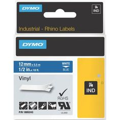 Dymo on Blue Color Coded Label