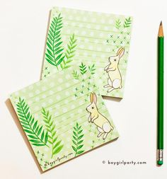 bunny stationery for spring from the boygirlparty shop. #bunny #stationery #rabbit #green