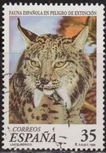 España 1998 Edifil 3529 Sello º Fauna en Peligro de Extinción Lince Iberico (Linx Pardina) 35Pts Sello España Espana stamps Spain Briefmarke...