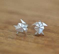 Origami TURTLE Earrings in Sterling Silver 925 by JamberJewels