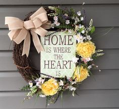 Grapevine Wreath for Front Door, All Season Wreath, Year Round Front Door Wreath, Spring Summer Wreath, Home is Where the Heart Is wreath, by CraftyCornerDesign on Etsy