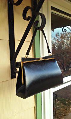 Vintage 1950s Black Leather Fin Handbag Purse Rockabilly VLV by PeachburritoVintage on Etsy