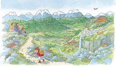 Praatplaat Bas - Bergen  (Getekend door Dagmar Stam)