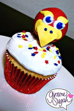 KU Cake pop as a cupcake topper.  Kansas Jayhawk!https://www.facebook.com/GimmeSugah