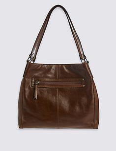 Leather Hobo Bag   M&S