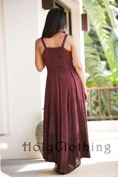 Riona Bustier Corset Empire Gypsy Peasant Boho Maxi Sun Dress: Burgundy