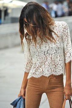 "dustjacketattic: "" lace top and caramel pants 