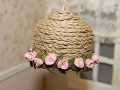 Lamp with roses miniature dollhouse by LasMInisdeMaini on Etsy, €20.00