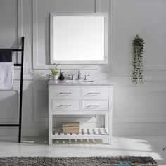 Virtu USA 'Caroline Estate' 36-inch Carrera White Marble Single Sink Bathroom Vanity - Overstock™ Shopping - Great Deals on VIRTU Bathroom Vanities