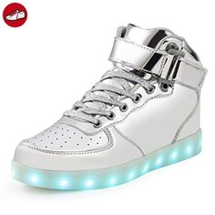 SAGUARO 7 Colors USB Charging LED Lighted Luminous Couple Casual Sport Shoes High Top Sneakers for Unisex Men Women (*Partner-Link)