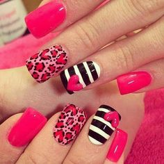 Cute pink leopard nails