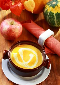 Spiced Canned Pumpkin Soup Recipe with a Cream Cheese Swirl   Amazing Soup Recipes #soup #recipes #pumpkin