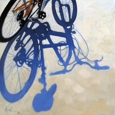 """Bicycle Blues original oil painting"" - Original Fine Art for Sale - © Linda Apple Shadow Painting, Shadow Drawing, Oil Painting On Canvas, Ap Drawing, Bike Drawing, Bicycle Painting, Bicycle Art, Bicycle Sketch, Ap Studio Art"