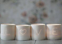 set of love porcelain tea lights by luna lighting   notonthehighstreet.com