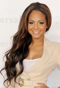 Christina Milian. Love the highlights! Omggggggg her hair is beautiful