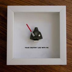 Art frame feature one LEGO® Star Wars® minifigures, Darth Vader with the famous quote: 'Your Destiny Lies With Me' beneath. Lego Display, Lego Minifigure Display, Star Wars Kunst, Star Wars Art, Lego Star Wars, Star Wars Room Decor, Star Wars Bedroom, Lego Darth Vader, Design Inspiration