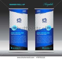 Blue Roll up banner template vector, roll up stand, banner design, flyer, advertisement, polygon background, poster (2)