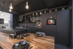 Cuisine noire et bois Mobalpa Kitchen Remodel, Kitchen Design, Black Kitchens, Kitchen Furniture, Home Decor Kitchen, Kitchen Interior, Home Decor, Kitchen Ideas 3d, Living Room Furniture