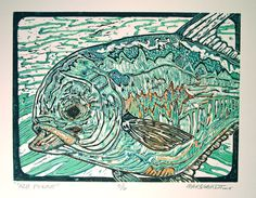ORIGINAL Permit fly fishing artwork reduction linocut print by Jonathan Marquardt of BadAxeDesign Fish Patterns, Linocut Prints, Fly Fishing, Printing Process, Printmaking, Original Artwork, Carving, The Originals, Painting