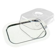 Bandeja rectangular de acero inoxidable con tapa transparente APS