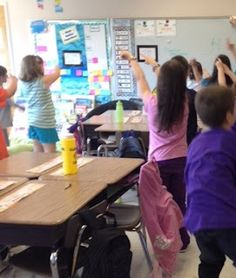 dance to teach borrowing in subtraction... more on top? (hands over head), no need to stop (hand out in stop gesture), more on the floor? (touch the floor), go next door (point to neighbor), and get 10 more! (reach out to the side)