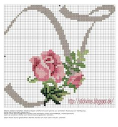 alphabet - y - rose - point de croix - cross stitch - Blog : http://broderiemimie44.canalblog.com/