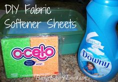 Pour one bottle of liquid fabric softener into a large container with lid.    Fill the empty softener container with water and add it to the container.    Repeat to give you a 2:1 mixture of water to fabric softener.    Drop sponges into the mixture.    Grab a sponge, wring out the excess liquid, and add it to the dryer with your wet clothes.    Seal your container between uses.