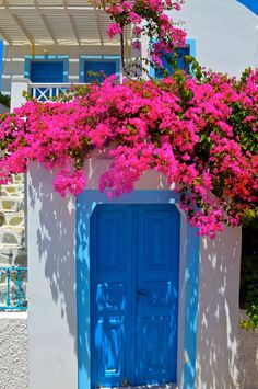Santorini Photography, Greece Photography, Blue Door, Pink Bougainvillea, Fine Art Photography, Larg