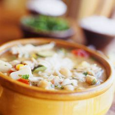 Sopa Ranchera   MyRecipes.com I substitute diced tofu for chicken and add Samuel ole elk ground fresh chili paste... Amazing
