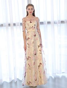613c71cea59   99.99  A-Line Illusion Neck Ankle Length Tulle   Satin Chiffon Prom   Formal  Evening Dress with Bow(s)   Embroidery by LAN TING Express   Illusion Sleeve