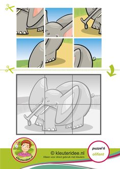 Puzzel olifant, kleuteridee, thema Afrika, Preschool elephant puzzle, free printable.