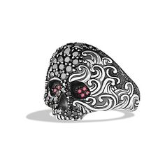David Yurman Waves Small Skull Ring with Black Diamonds and Rubies ($1,950) ❤ liked on Polyvore featuring men's fashion, men's jewelry, men's rings, mens ruby ring, mens skull rings, mens black diamond rings and david yurman mens rings