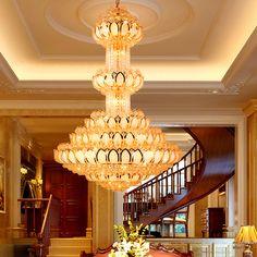 Crystal Chandelier Lighting Fixture LED Gold Chandeliers Lotus Lamp Big Long Droplight Hotel Lobby Hall Villa Home Indoor Light #Affiliate