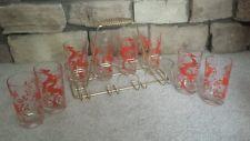 Vintage Drinking Glasses, set of 8, Red Gazelle, plus Carrier, Retro