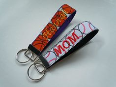 Personalized Sports Key Fob Wristlet FULLY CUSTOMIZABLE with your name and favorite sport ribbon. $7.50, via Etsy.