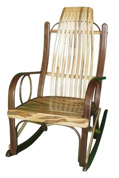Captivating Rustic Bentwood Rocker With Walnut And Wormy Maple Wood